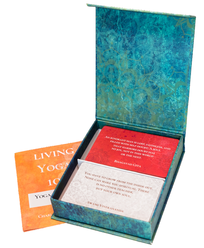 Living Yoga 108 magnetic box open, cards & information leaflet