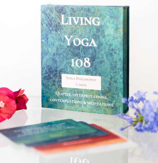 Living Yoga 108 box standing up with a card of each colour